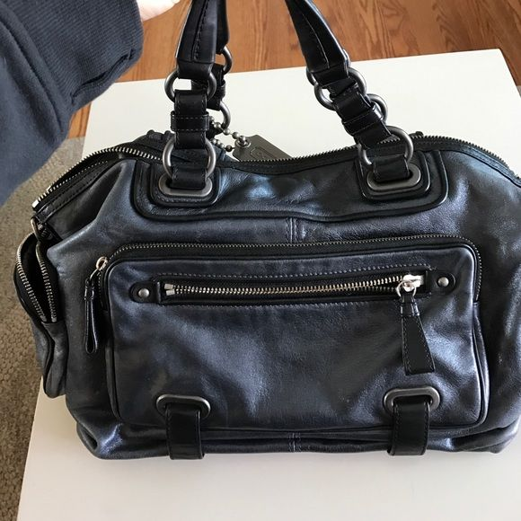 I just discovered this while shopping on Poshmark: Authentic Metallic Navy Coach Bag. Check it out!  Size: OS