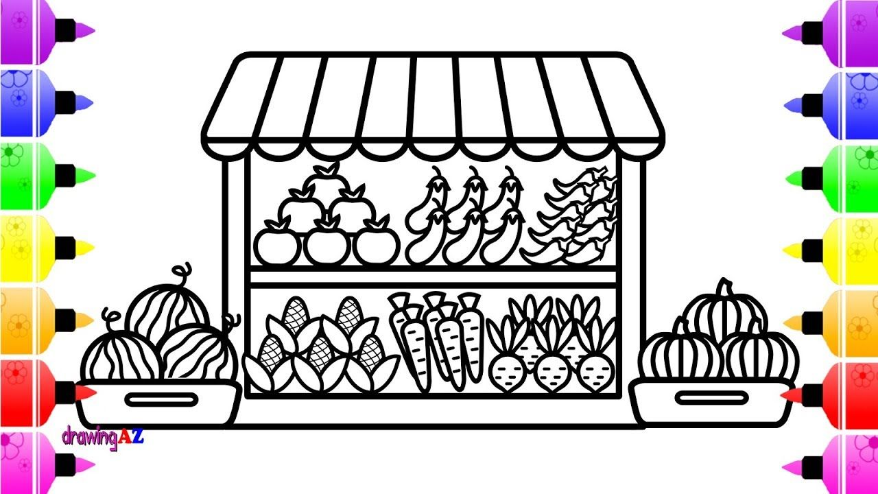 How To Draw Fruits And Vegetables Shop For Kids | Coloring Page For Children