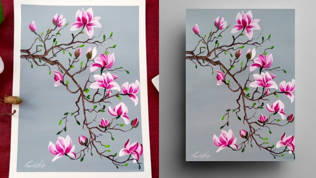 Step By Step Magnolia Painting For Beginners Round Brush Acrylic Pai Magnolia Paint Acrylic Painting Flowers Painting Demonstration
