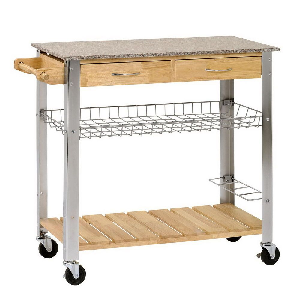 Details About Wood Kitchen Trolley Cart Stainless Steel Top