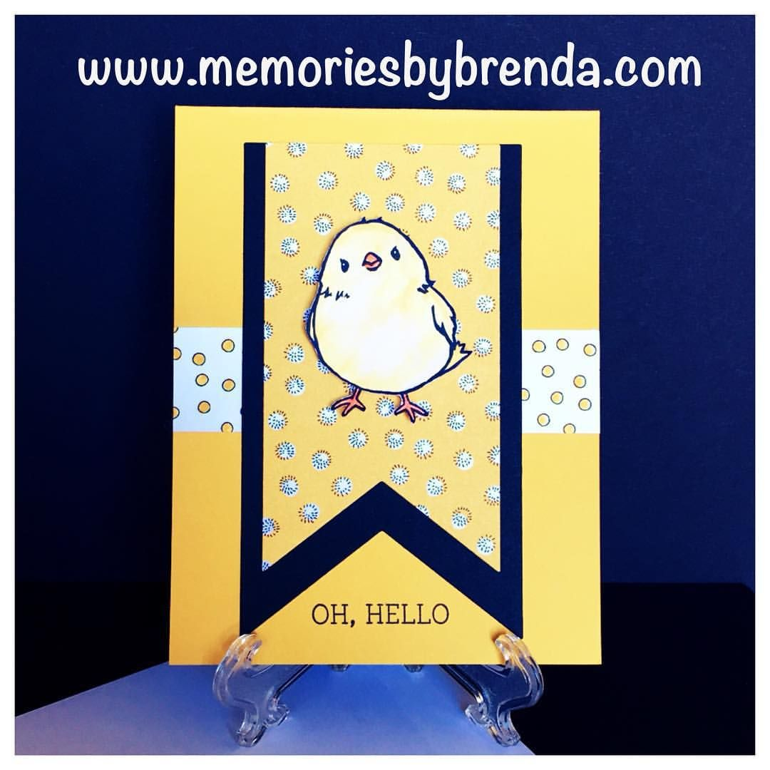 My finished card!! I posted it earlier on my Facebook page, Memories by Brenda ~ Brenda Taylor. Stop by and like it. #stampinup #cardmaking #saleabration #hello #paper