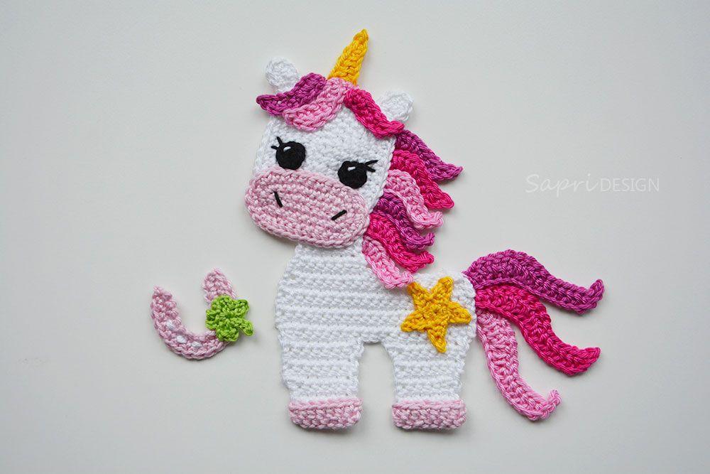 Einhorn Unicorn Applikation Aufnäher Häkeln Gehäkelt Crochet