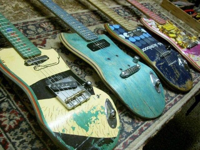 deko selber machen gitarren aus alten skateboards m bel deko pinterest gitarre. Black Bedroom Furniture Sets. Home Design Ideas