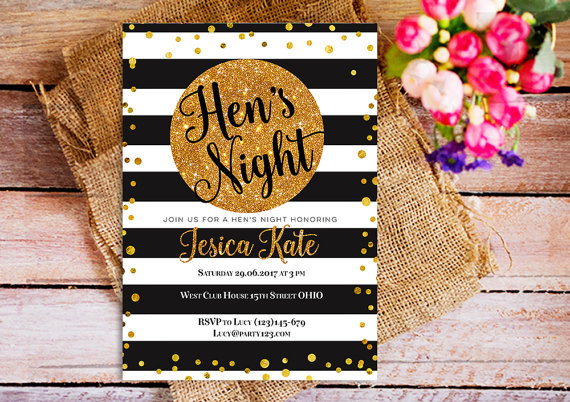 Gold hens night invitations, Gold and black hens night party - invitation to a party