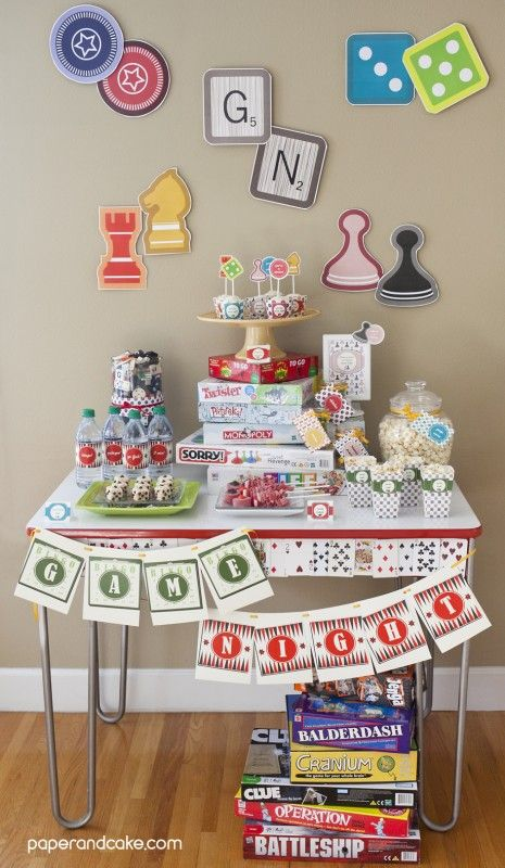 game night party new release family game night party ideas decorations and inspiration. Black Bedroom Furniture Sets. Home Design Ideas
