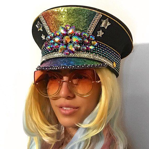 c7726bafafee3 Festival Hat Burning Man Sergeant Captain s Hat Rave