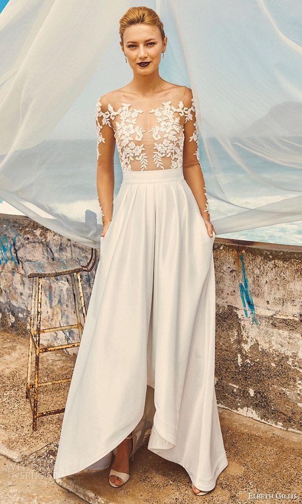Elbeth Gillis Milk Honey 2017 Bridal Separates Illusion Long Sleeves Aline High Low Wedding Dress Tara Top Harper Skirt Mv