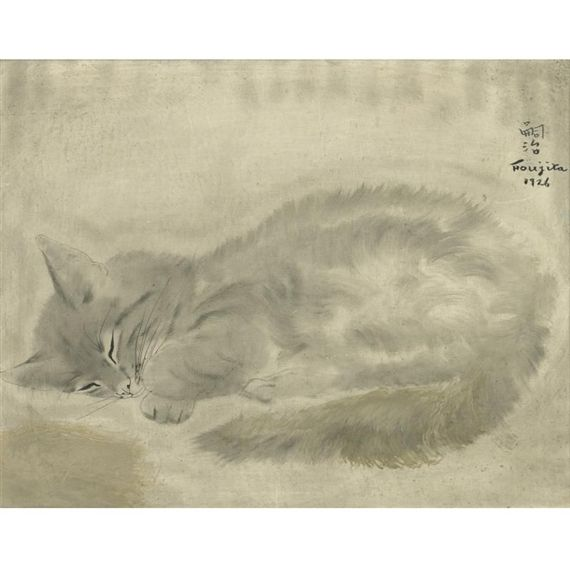 CHAT ENDORMI  By Tsuguharu Foujita