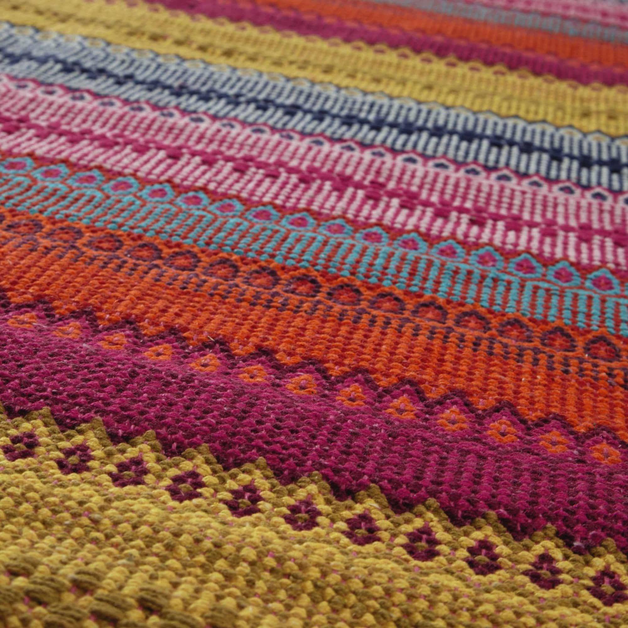Tappeto intrecciato multicolore in cotone 230 x 160 cm