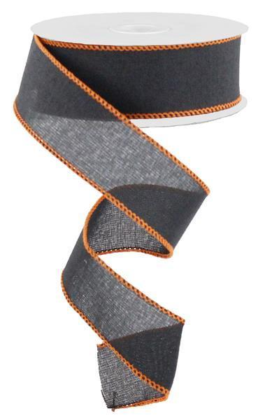 1.5 x10yd Black Wired Burlap Ribbon