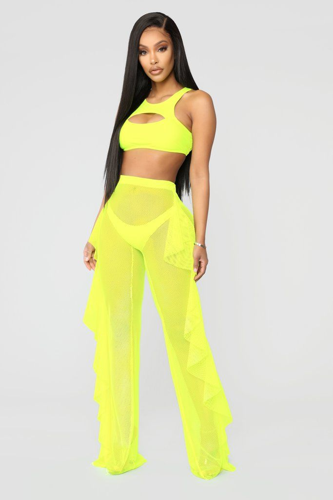71f2ec162be Shuffle And Ruffle Fishnet Cover Up Pants - Yellow ekkor: 2019   Lil Ming  Ming Vert   Fashion, Fashion dresses és Fashion nova pants