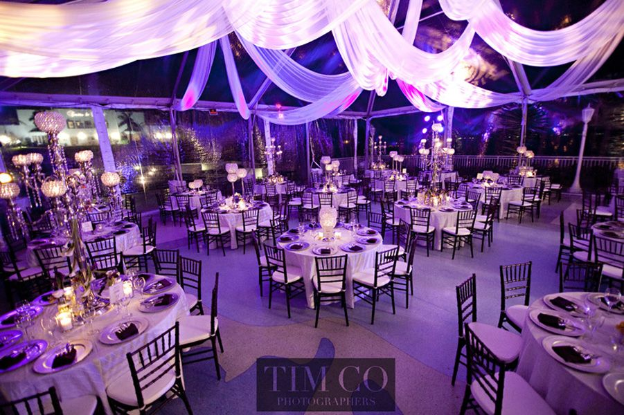 Ceiling Drapery With Lighting Purple Wedding Reception Wedding