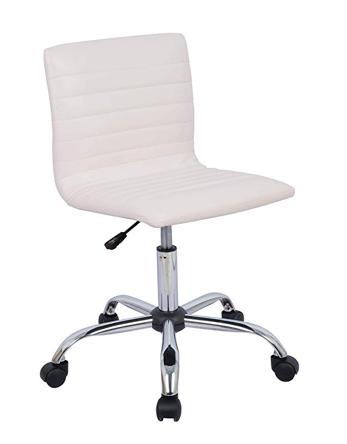 Amazon Com Amazonbasics Modern Adjustable Low Back Armless Ribbed Office Desk Task Chair White Gateway Desk Chair Task Chair Adjustable Office Desks