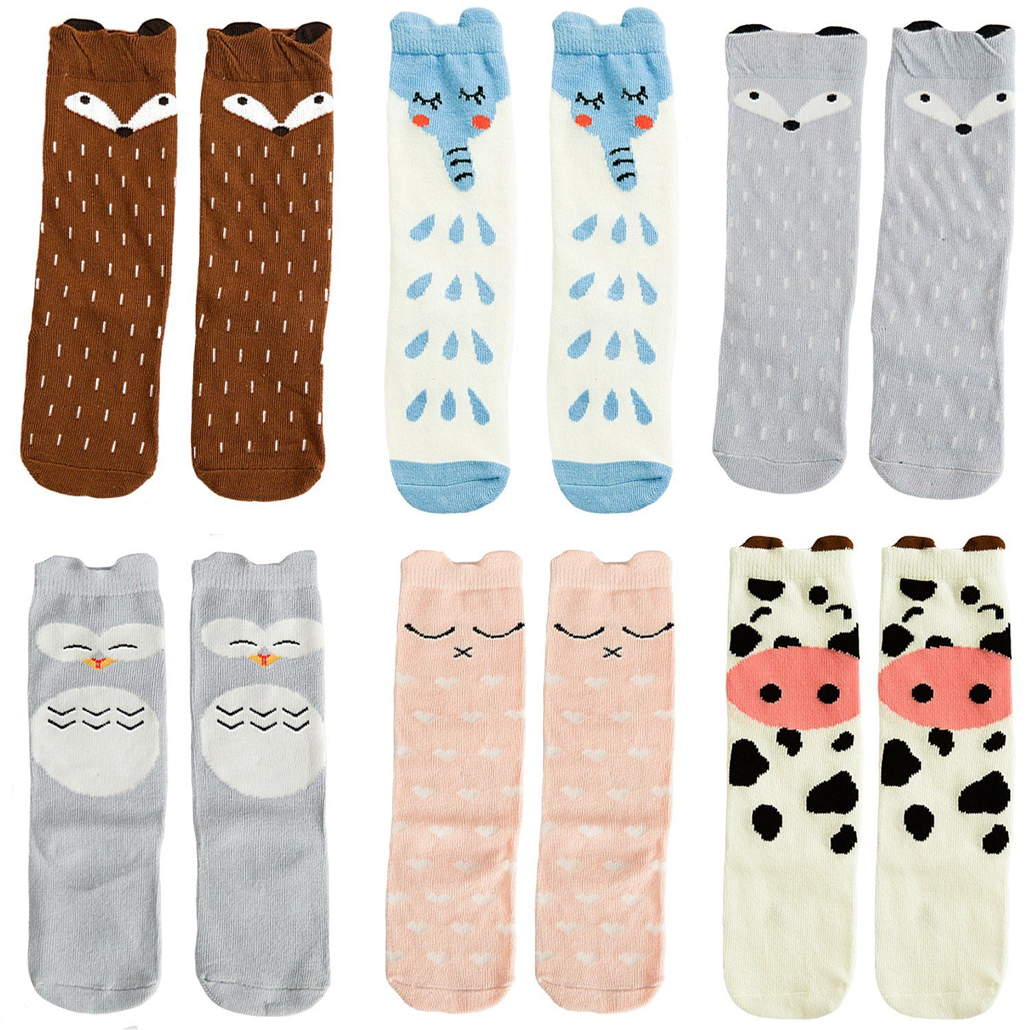 Elesa Miracle 6 Pairs Unisex Baby Knee High Stocking Baby Socks Baby