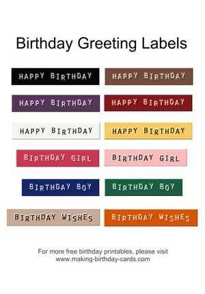 Birthday greeting labels Free Printables Pinterest - birthday greetings download free