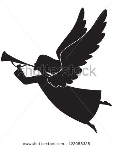 a silhouette of a christmas angel blowing a trumpet stock vector rh pinterest com Gold Angel Trumpet and Horn Clip Art Angel with Trumpet Clip Art