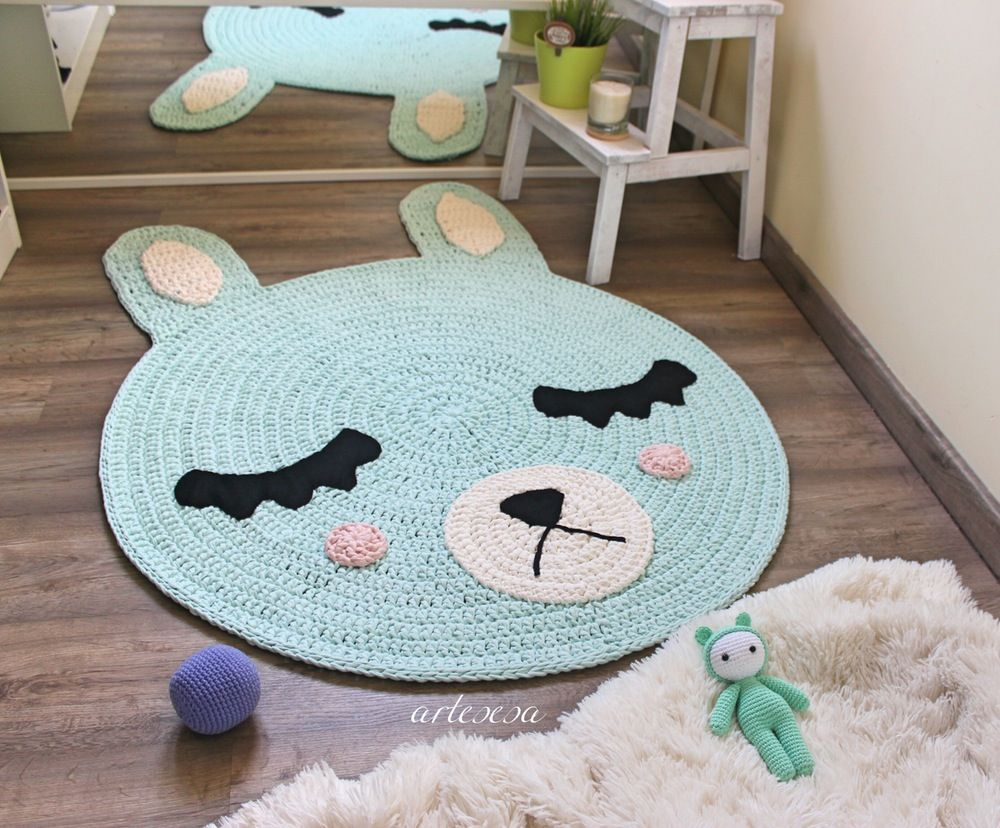 Image of Alfombra infantil conejito y koala*Children rug rabbit and ...