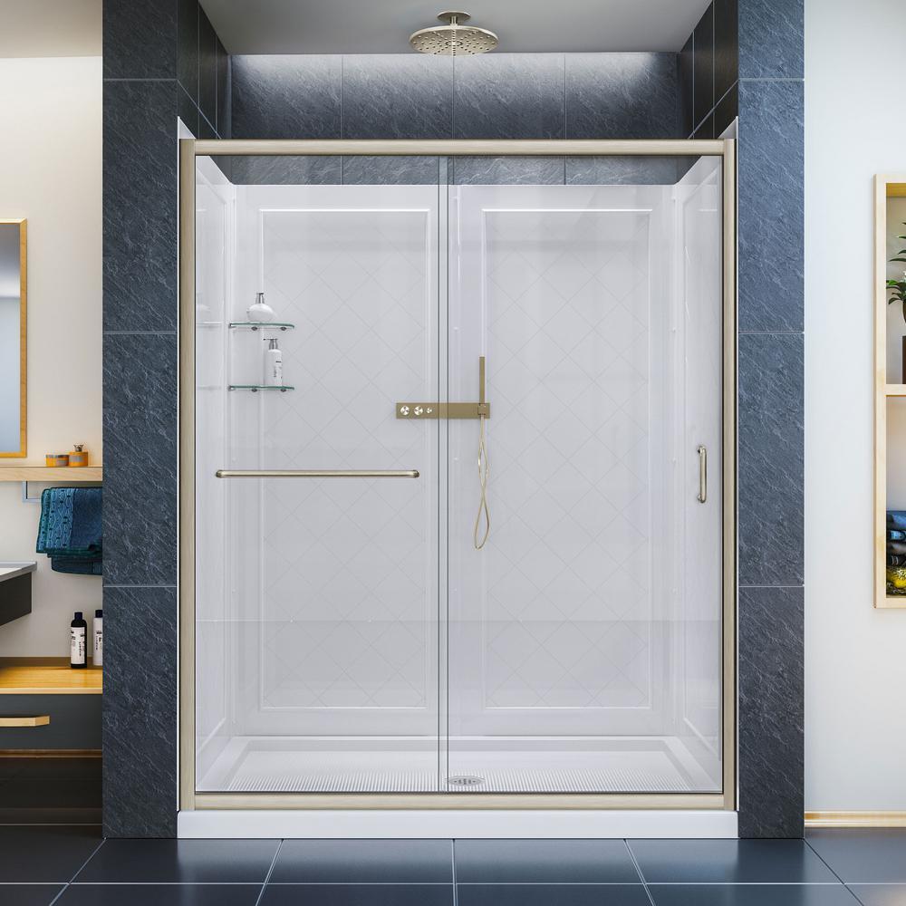 DreamLine Infinity-Z 30 in. x 60 in. Semi-Frameless Sliding Shower Door in Brushed Nickel with Left Drain Base and Back Wall-DL-6116L-04CL - The Home Depot #framelessslidingshowerdoors