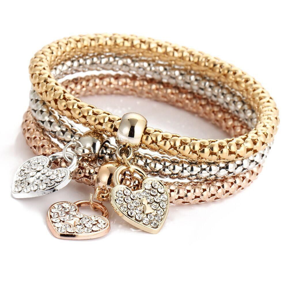 Goldsilverrose gold bracelet set products pinterest products