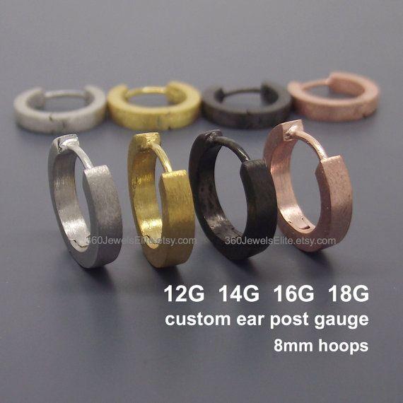 Custom Gauged Ear Post Hoop Earrings For Men Posts Can Be Made In 10g 12g 14g 16g Or 18g Sold As A Pair Single Earring