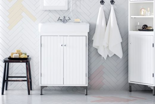 SILVERÅN/HAMNVIKEN Wash Basin Cabinet With 2 Doors White 60x45x91 Cm. Ikea  Bathroom ...