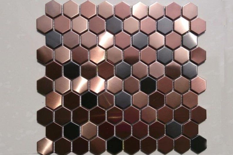 Hexagon Metal Mosaic Wall Tiles Backsplash Smmt055 Copper Bronze Black Stainless Steel Metallic Mosaic Tiles Backsplash Metal Mosaic Tiles Hexagon Mosaic Tile Honeycomb Tile