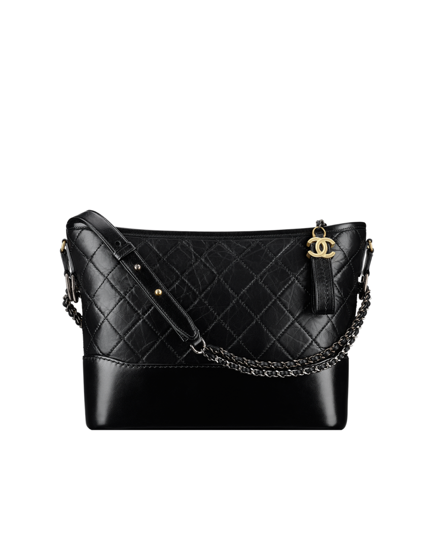 b1a7ee394e628f CHANEL's GABRIELLE hobo bag, aged calfskin, smooth calfskin, silver-tone &  gold-tone metal-black - CHANEL