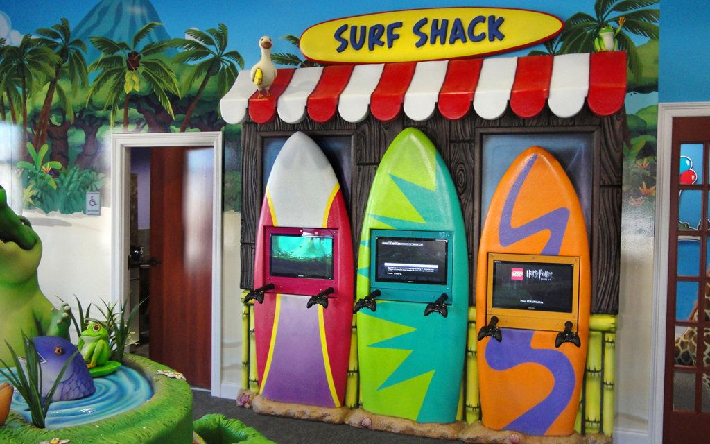 Surf Shack Themed Pediatric Dental Office With XBox Game Units For Kids. Interior  Design And