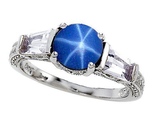 Original Star K(tm) Round 7mm Created Star Sapphire Engagement Ring $129.99 #bestseller