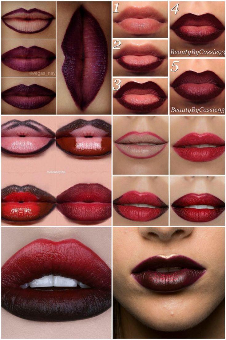 Lippen voller schminken: Lip-Contouring und Ombré-Lippen im Trend #beautymakeup… – Katie S.