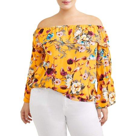 d562bb38eeb Women's Plus Size Off Shoulder Floral Blouse | Products | Floral ...