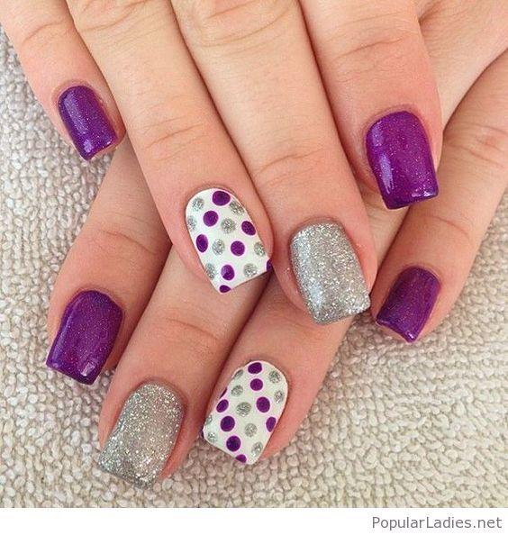 Purple and grey nail art inspiration | Grey nail art, Gray nails and ...