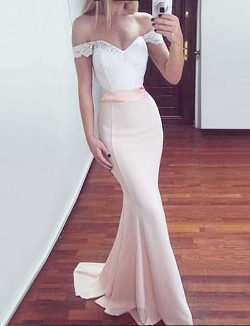 Mermaid prom dresses bodycon off the shoulder party dresses sweep