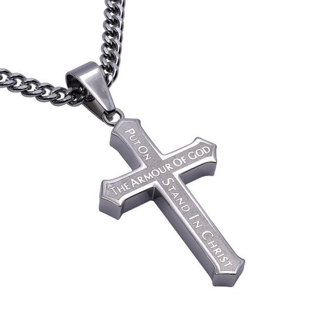 Armour of god stainless steel cross necklace with satin finish armour of god stainless steel cross necklace with satin finish biocorpaavc
