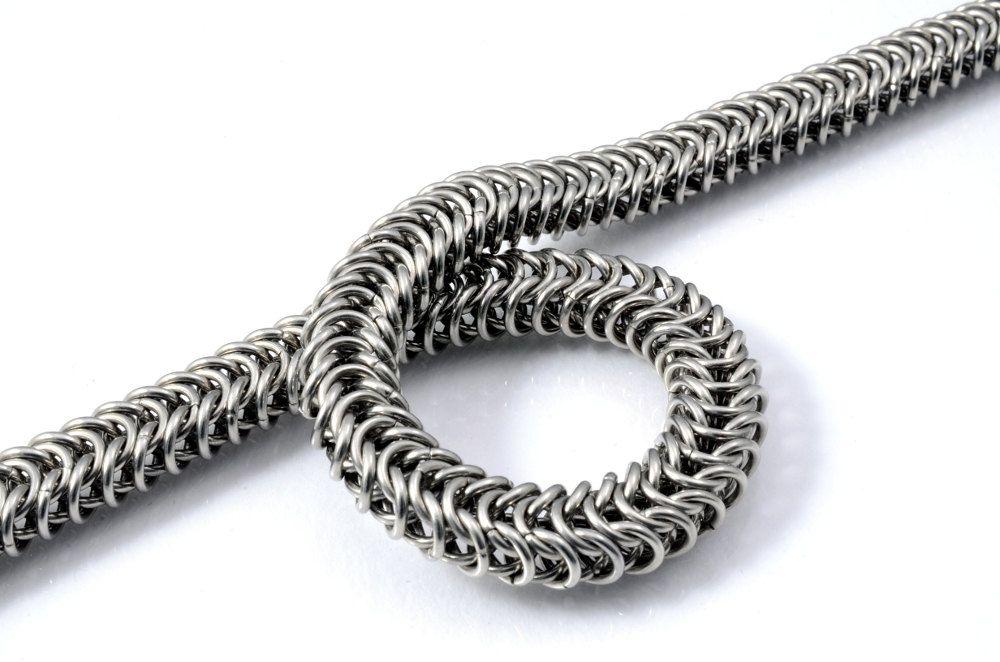 Handmade solid steel snake chain bracelet от TralalaLTD на Etsy