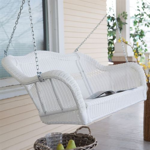 white resin wicker porch swing with hanging chain 600lb weight capacity - Wicker Porch Swing