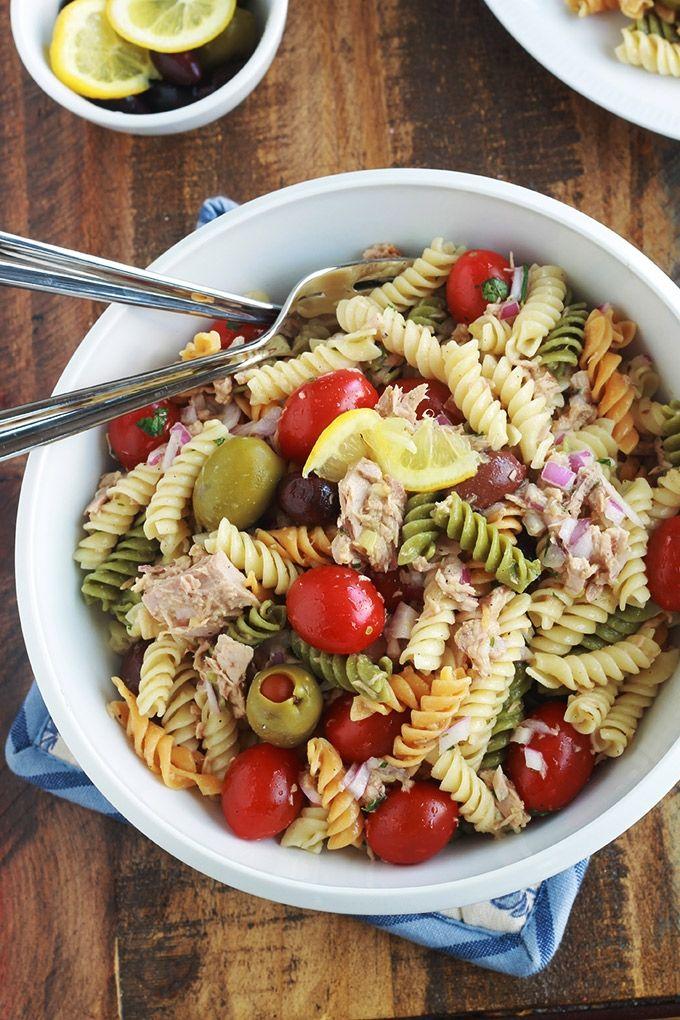 Salade de pâtes au thon facile, vinaigrette aux herbes ...
