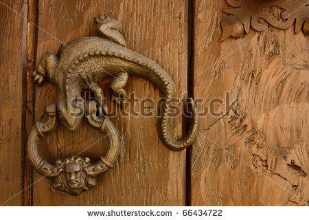 Metal knocker shaped dragon or lizard. Spanish colonial style door ...