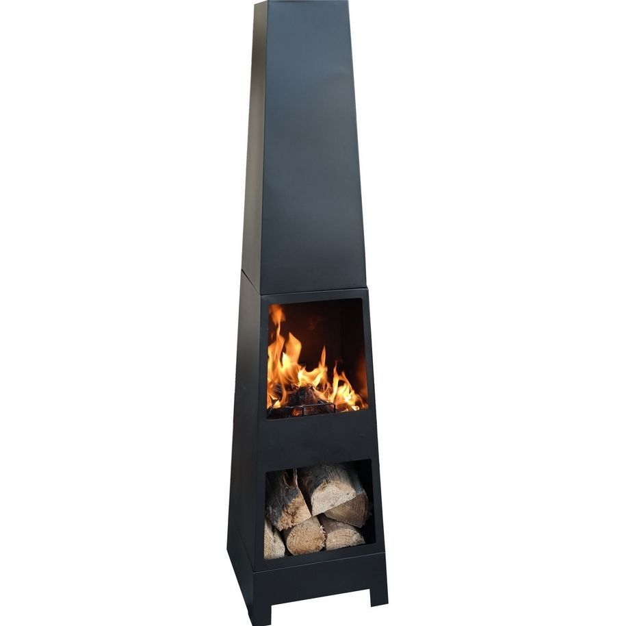 chiminea chimenea outdoor fire patio storage log heater wood