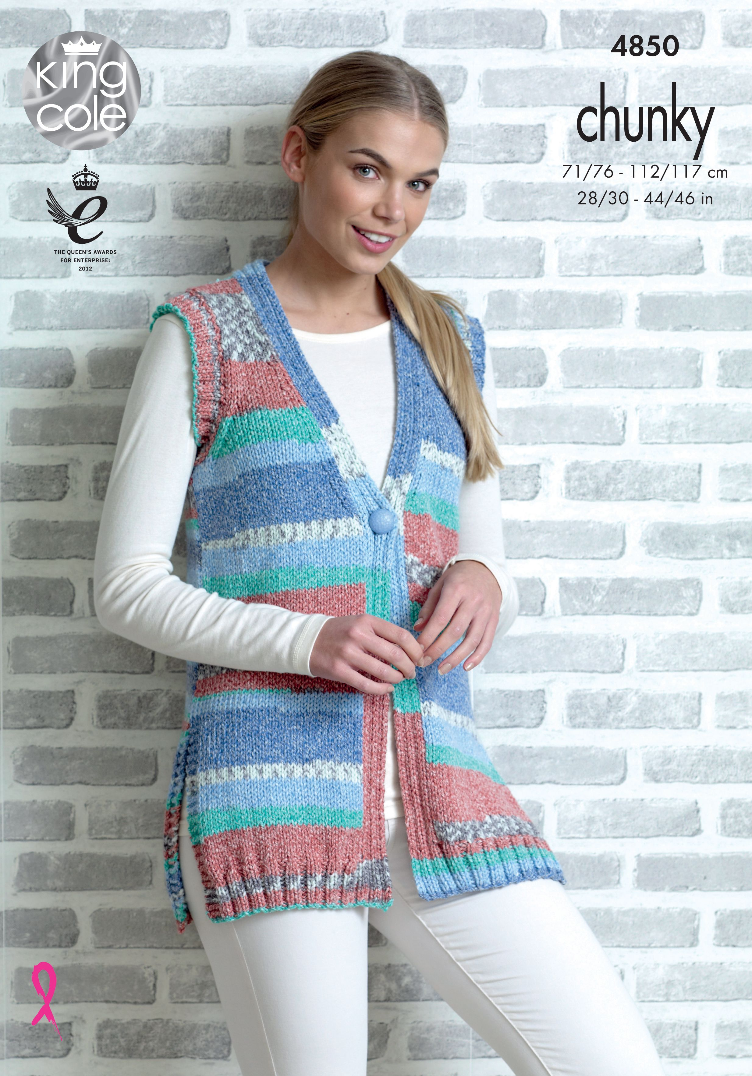 a69a33fde6a5 Cardigan   Waistcoat knitted with Drifter Chunky - King Cole ...