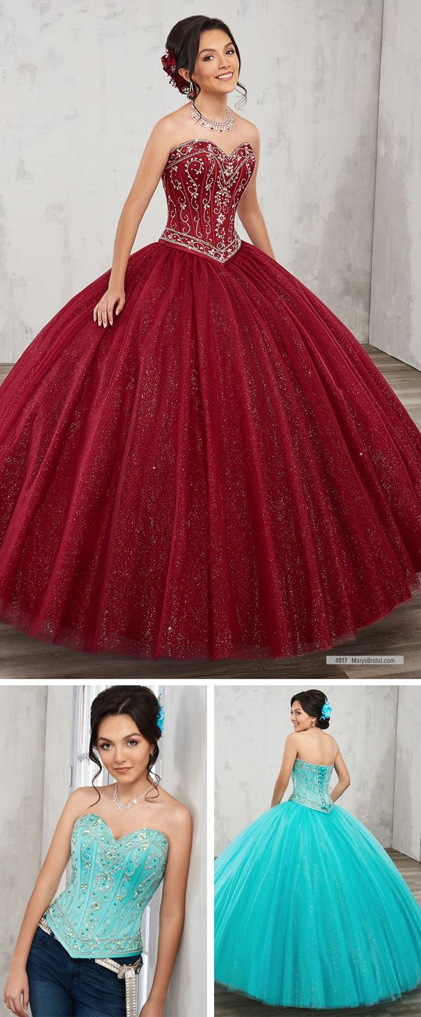 261e07b3faf ... quinceanera ball gown features beaded corset satin top with strapless  sweetheart neck line