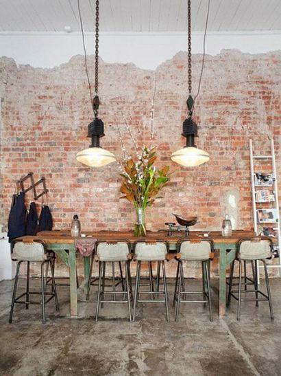 Bakstenen muur | Woonkamer | Pinterest - Muur, Eetkamer en Interieur