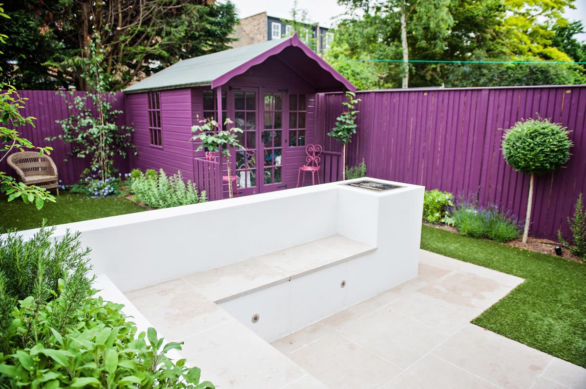 Funky backyard garden ideas - Adorable Black Small Garden Design Bold Purple Fence Paint Idea Topiary Sectional Bench Locker Captivating
