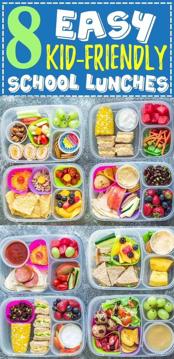 8 Healthy and Delicous Lunches for Back To School. Tons of ideas with options for nut free, dairy free and gluten free choices. Delicious and something for even picky eaters who will want to finish their food with no leftovers. Perfect for adults too who are looking for recipes and ideas other than sandwiches to bring to work. #backtoschool