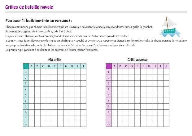 Grilles de bataille navale pr tes imprimer jeu de strat gie french math french class - Grille de bataille navale a imprimer ...