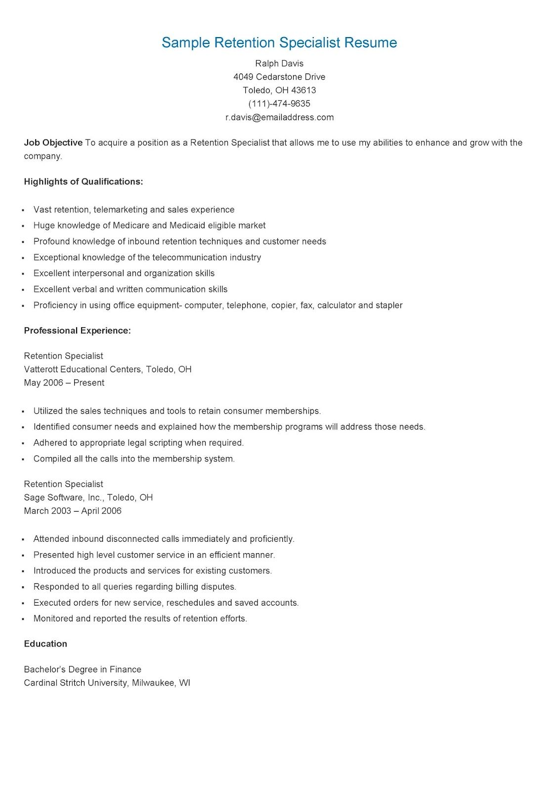 sample retention specialist resume resame pinterest