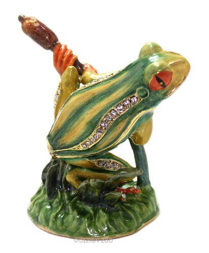 crystal bejeweled enamel frog on willow trinket box
