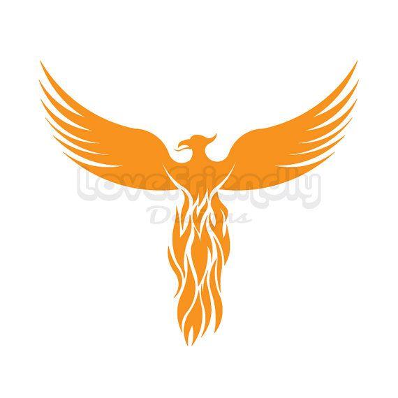 clipart gold phoenix bird instant