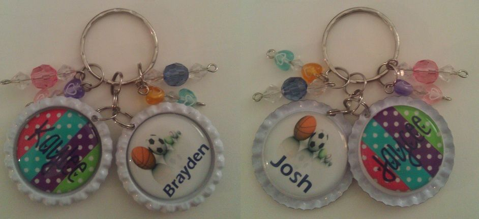 Front and back bottle cap keychain with beads