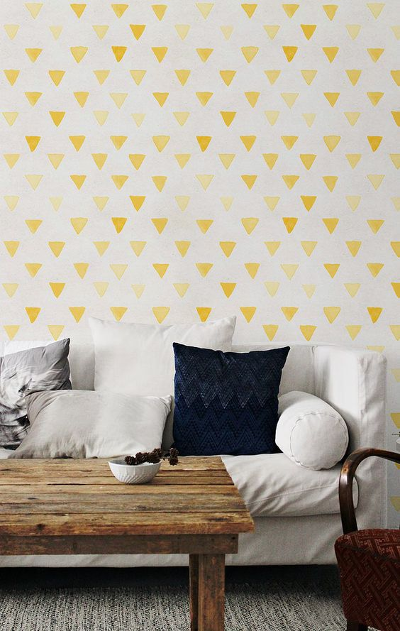 Textured wallpaper, Watercolor wall mural, Boho decal, Watercolor decal, Triangle pattern, BW060